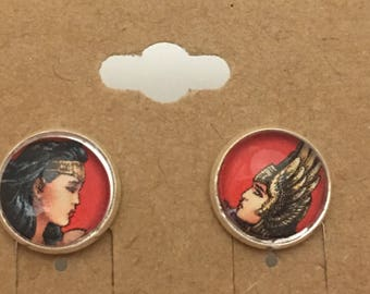 Recycled Comic Book inspired earrings Wonder Woman