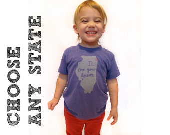 kids state design, state pride, choose any state design, local pride, kids gift, free shipping