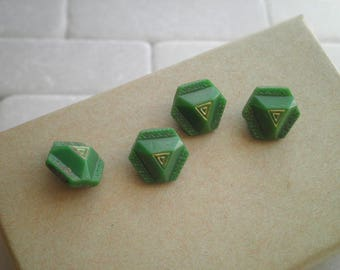 Vintage 1930s Art Deco Green Glass Buttons - Antique Button Lot of 4 - Retro Sewing / Craft Supply Green & Gold Shank Style Buttons