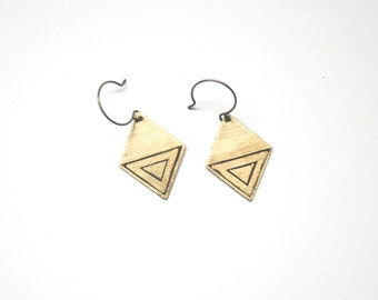 ALOR SETAR earrings | Brass Diamond-Shaped Earrings with Etched Geometric Triangle Design | ORIGINS Collection