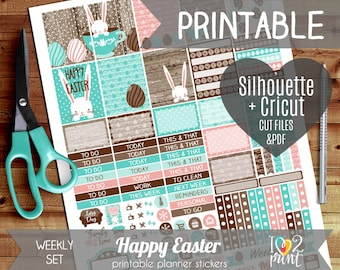 Easter Weekly Printable Planner Stickers, Erin Condren Planner Stickers, Weekly Planner Stickers, Happy Easter Stickers, Cut files
