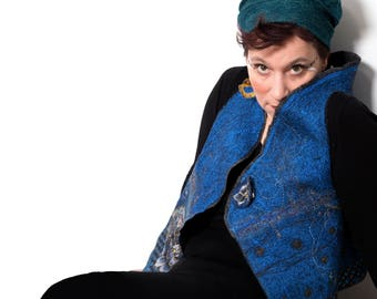 Cobalt blue Nuno Felt Woman Vest with Floral Design & Gold - Reversible Surface Design Merino Wool Embroidered Wearable Art Made in Paris