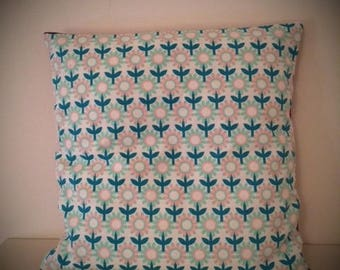 way geometric flowers on white pillow cover