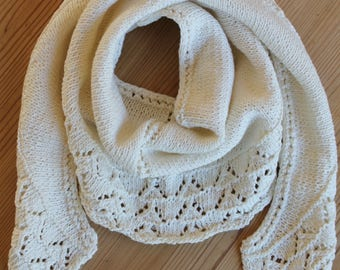 scarf/shawl or mini shawl unbleached cotton and linen (pattern 2)