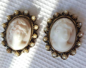 Beautiful Vintage Cameo Clip On Earrings with Pearl Accents