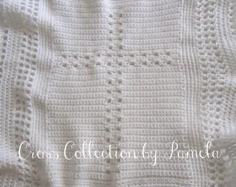 "Crochet Christening Blanket Cross II PDF ePattern Baby Afghan 24"" x 30"" (61 cm x 76m) approx"