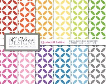 Rainbow Quatrefoil Lattice Paper Pack - 12 digital paper patterns - INSTANT DOWNLOAD