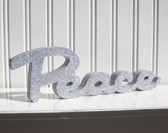 Silver Glitter Peace Letter Sign, Christmas Decoration, Mantle Decoration, Holiday Decoration, Wood Noel Sign