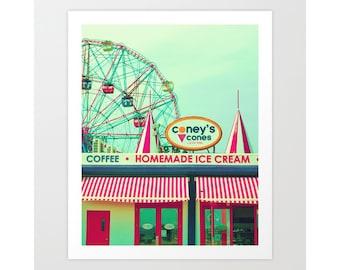Nursery wall art, nursery decor, ferris wheel art, turquoise, Coney Island, Wonder Wheel, playroom decor, canvas art, extra large wall art