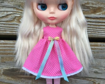 Tiny Pink Polka Dot Blythe Dress #2