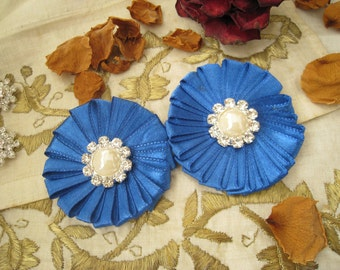 Royal Blue Ribbon Flower Appliques with Pearl and Rhinestones