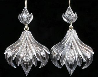 Georgian Long Rose Cut Diamond Silver Gold Large Earrings