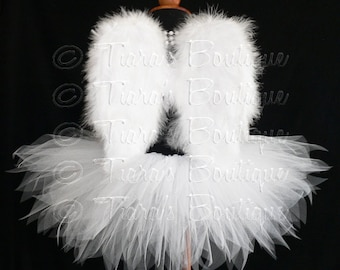 "Angel Tutu Costume - 13"" Tutu and Small Angel Wings - For Girls, Pre-Teens, Teens - Valentine's Day"