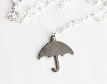 Silver Umbrella Necklace