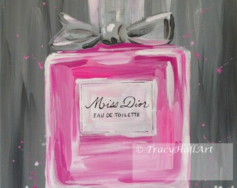 Dior Perfume Art PRINT Miss Dior Perfume Bottle Christian Dior Pink Gray from original painting by Tracy Hall
