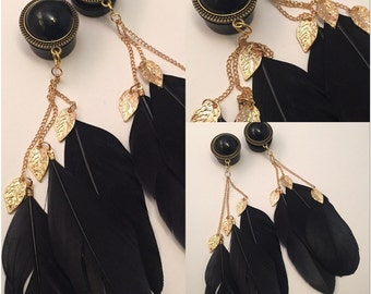 """0G 00G 1/2"""" 9/16"""" 5/8"""" 3/4"""" 7/8"""" 1"""" PICK SIZE Black Pearl Feather Gold Leafs Bohemian Girly Ear Guages Dangle Plugs"""