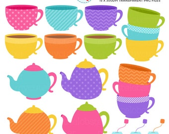 Tea Time Clipart Set - clip art set of teapots, teacups, teabags, tea, party, drink - personal use, small commercial use, instant download