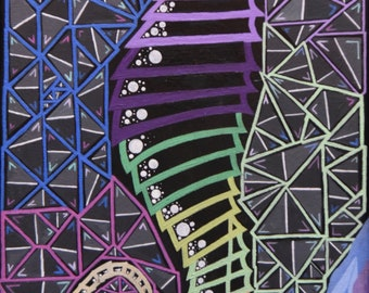 fractal seahorse painting acrylic print