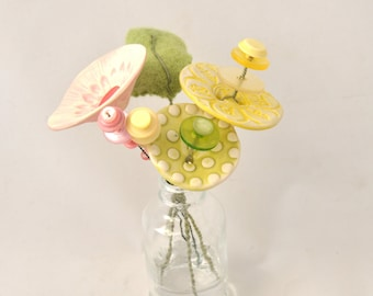 Lime green, yellow and pink button flower bottle bouquet