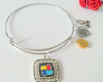 Autism Awareness Adjustable Bangle Bracelet for Mother of Autistic Son