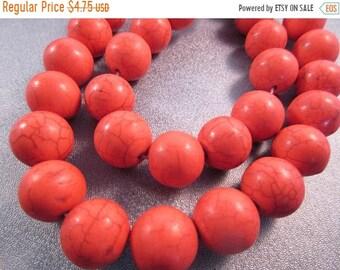 ON SALE 20% OFF Fire Orange Magnesite Beads Round 14mm 29pcs