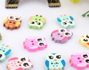 buttons owls wooden sewing 21 mm * 17 mm