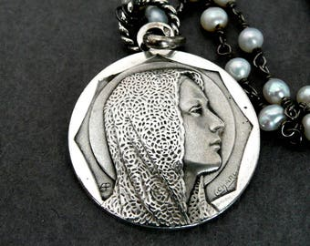 Vintage French Silver Virgin Mary Medal, Blessed Virgin Mary Necklace
