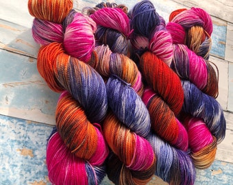 Dyed to Order hand dyed yarn Nebula colorway