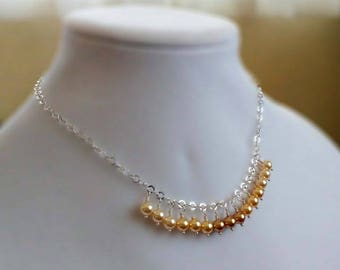 Gold Yellow Swarovski Crystal Pearl Necklace on Short Sterling Silver Chain