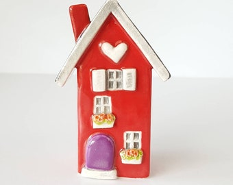 Little Clay House, Red Ceramic House, Miniature House, Whimsical house, Red Fairy House, Clay Cottage, Housewarming Gift