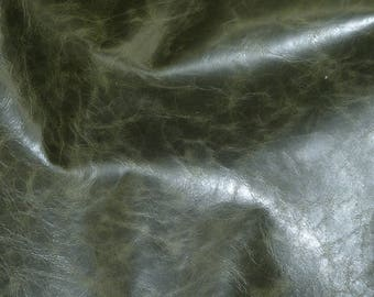"""Leather 8""""x10"""" RIVIERA Pull Up effect DARK OLIVE Shiny Distressed Aniline Dyed Cowhide 2.5-3oz/1-1.2mm PeggySueAlso™ E2932-15 Full Hides Too"""
