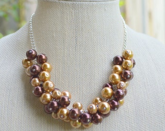 Brown Pearl Cluster Necklace, Bridal Necklace, Bridesmaid's Necklace, Pearl Beaded Necklace