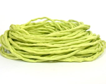 Light Lime Hand Dyed Silk Ribbons - Silk String Style - S99