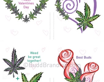 DIGITAL DOWNLOAD for PRINTING 4UP flat:  Cannabis Valentine Card  Marijuana, 420, Valentine Card, Christmas card, Stoner, Reefer, Pot card