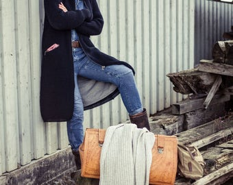 Action! % !  Women's knit coat with hood, windbreaker, handmade