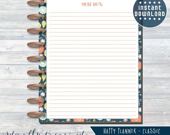 HAPPY PLANNER PRINTABLE To Do Planner Pages / Inserts - 7 x 9.25 | Navy Blooms | Create 365 | Me & My Big Ideas | mambi | To Do Page