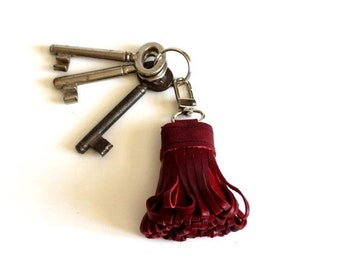 ON SALE Red Leather Tassel with key snap