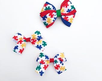Autism awareness bow