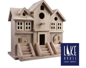 Plain Wood Brownstone Birdhouse. Plain Row House. Bare Wood Duplex House. Multi-family Birdhouse.