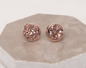 Sale,Wedding Sale, Rose gold Druzy Earrings, Druzy Earrings, Rosegold Studs, Druzy Earrings, Gift Idea,Rose Gold, Bridesmaid Gift,