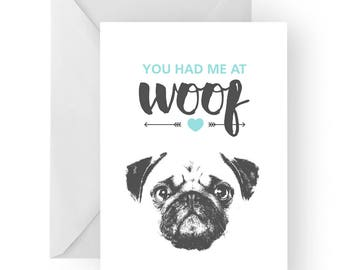 Pug anniversary card- birthday card, love card, dog birthday card, pug anniversary, pug card, pug greeting card, pug birthday card, cute pug