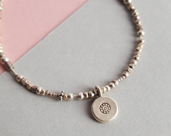 Hill tribe silver simple charm bracelet