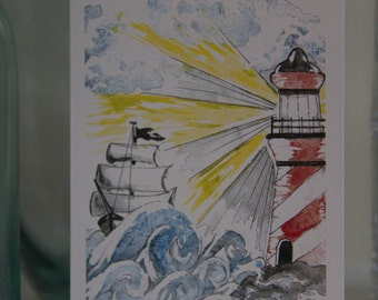Lighthouse and Sailboat Rough Seas Notecard