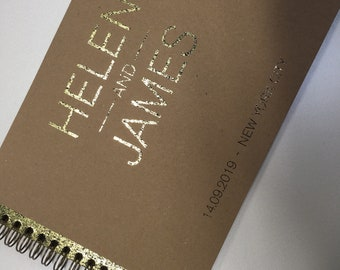 Personalised gold foiled guestbook