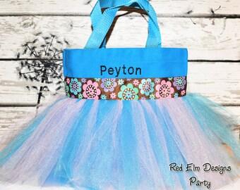Tutu Bag, Blue Basket, Tutu Bag, Flower Ribbon, Personalized Girl, Ballet Bag, Dance Class Bag, Party Favors Whimsical