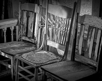 Three Old Wood Chairs lit by Window Light in a Building in 1880 Town Museum in South Dakota No.3125BW A Black and White Fine Art Photograph