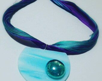 Silk necklace with Tiffany glass pendant.