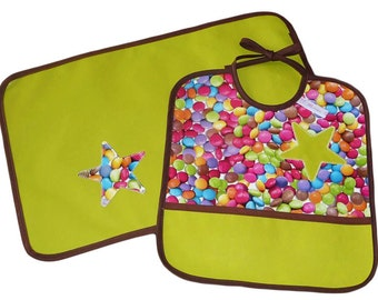 Placemat - APPETITE - (oilcloth) and bib Kit