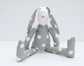 Stuffed rabbit toy bunny gray white polka dots hare plush bunny doll softie stuffed toy Easter & birthday gift baby shower nursery decor toy