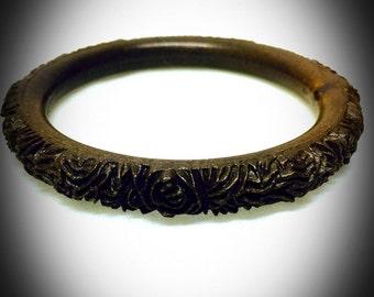 vintage carved wood floral bracelet faux wood bangle